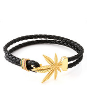 Men - 14K Gold Weed Leaf Bracelet