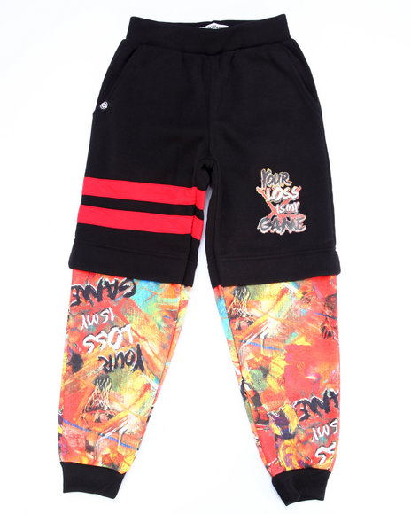 Akademiks - Boys Black,Multi Double Layer Game Time Joggers (8-20) - $16.99