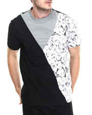 T-Shirts - Chalk print pieced tee