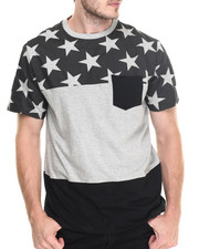 T-Shirts - Colorblocked tee w/stars
