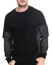 Men - Mesh overlay crew sweatshirt