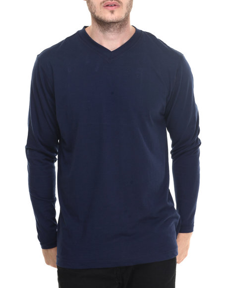 Basic Essentials - Combed Cotton V - Neck L/S Tee