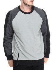Pullover Sweatshirts - Colorblocked w/quilt crew fleece