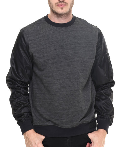 Rocawear Blak - Men Black Ma-1 Crew French Terry Sweatshirt