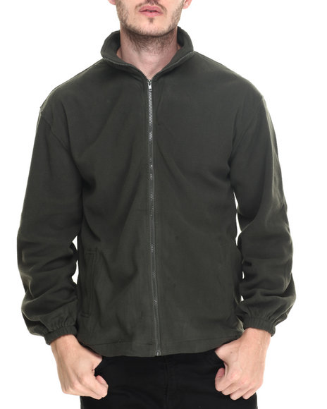 Basic Essentials - Men Green Mock - Neck Zip - Up Fleece