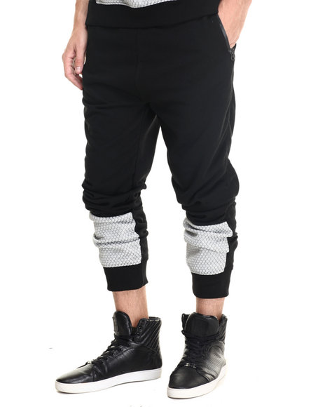 Waimea - Men Black Honycomb Pieced Jogger