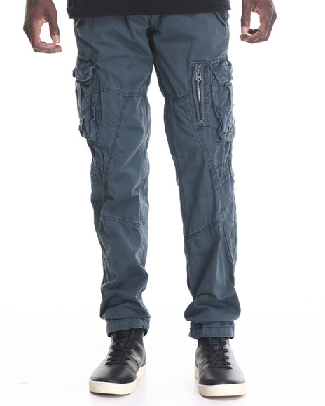 Basic Essentials - Men Dark Blue Hydro Side - Cargo Snap Pocket Twill Pants