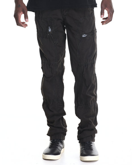 Basic Essentials - Men Dark Brown Hydro Side Zip Pocket Twill Pants