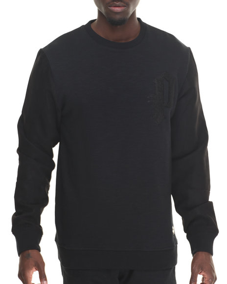 Premio By Ecko - Men Black Sueded Varsity Crew Sweatshirt