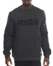 Pullover Sweatshirts - Over Quilted Crew Sweatshirt