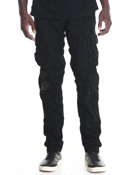 Basic Essentials - Men Black Hydro Side - Cargo Snap Pocket Twill Pants