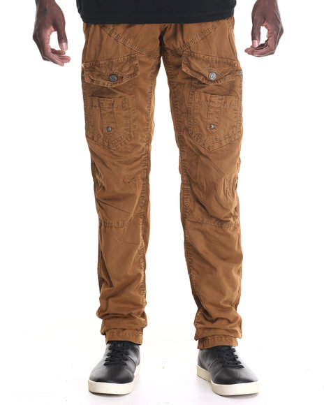 Basic Essentials - Men Brown Hydro Front - Cargo Pocket Twill Pants