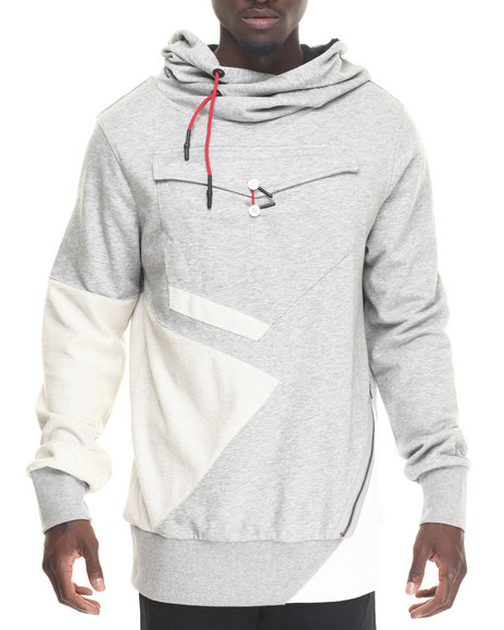 Hudson Nyc - Men Grey Envelope Pocket Pullover Hoodie
