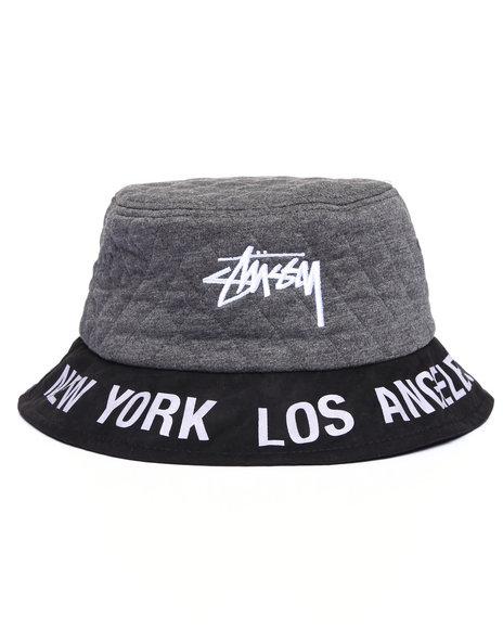 Stussy Women World Tour Quilted Bucket Hat Grey XSS