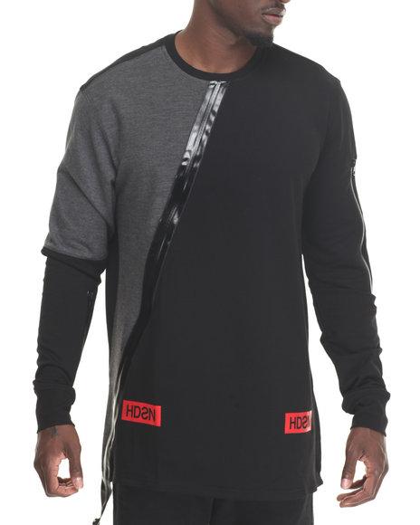 Hudson Nyc - Men Black Zipper Paneled L/S T-Shirt