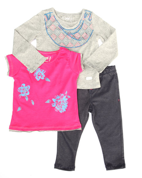 Lee - Girls Multi 3 Pc Set - L/S Tee, Butterfly Tee, & Jeggings (2T-4T)