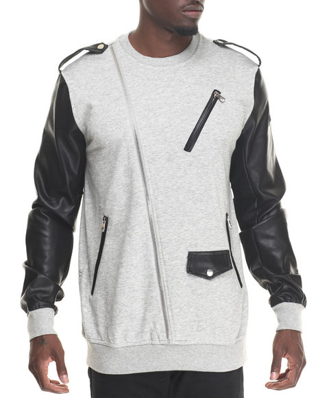 Hudson Nyc - Men Grey Lancer Moto Crewneck Sweatshirt