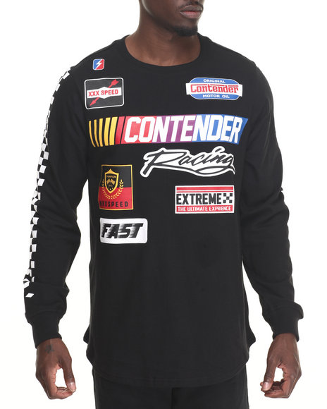 Buyers Picks - Men Black Contender Racing Side Zip Long Tee