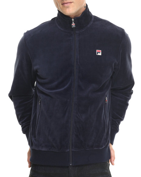 Fila - Men Navy Slim Velour Jacket - Navy