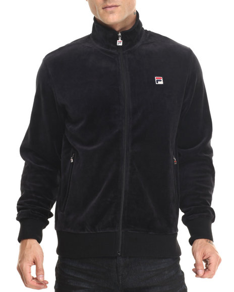 Fila - Men Black Slim Velour Jacket - Black