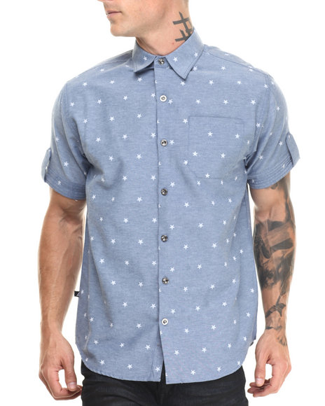 Buyers Picks - Men Medium Wash S/S Star Chambray Woven Shirt