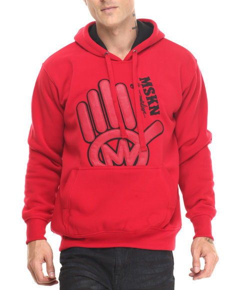 Miskeen - Men Red Miskeen Hand Logo Pu Hoodie