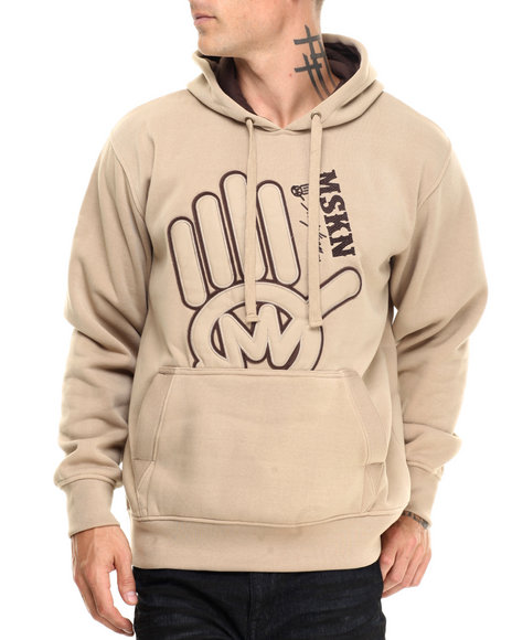 Miskeen - Men Khaki Miskeen Hand Logo Pu Hoodie