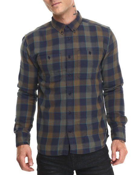 Dc Shoes - Men Navy,Olive Ls Plaid Midweight Flannel