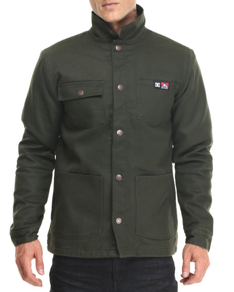 Dc Shoes - Men Olive Dc X Ben Davis Front Snap Canvas Jacket