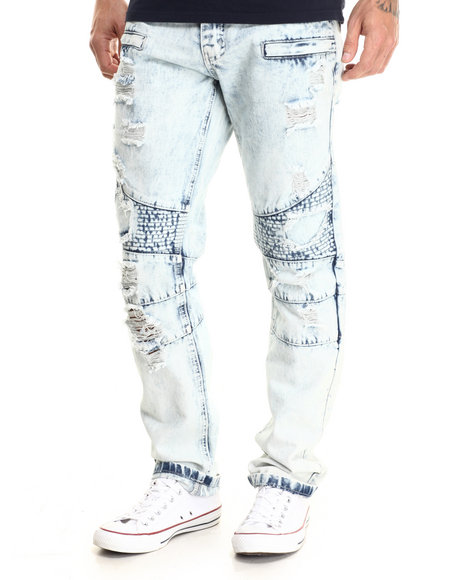 Buyers Picks - Men Light Wash Knee Quilted Rip & Tear Light Indigo Denim Jeans