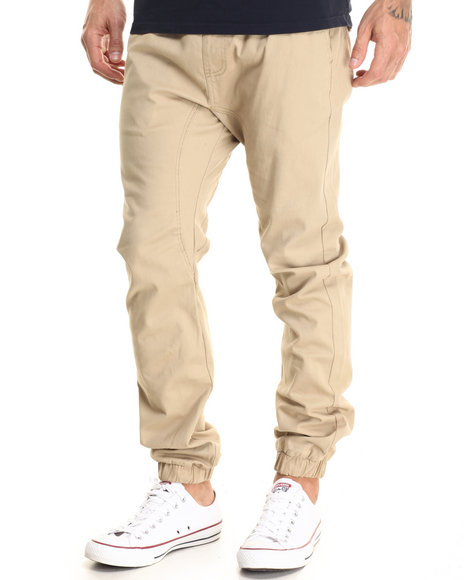 Buyers Picks - Men Khaki Drop Crotch Stretch Twill Jogger