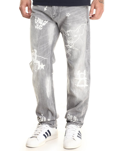 Rocawear - Men Grey Vintage Straight Fit Jeans