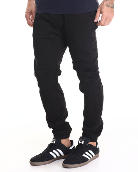 Buyers Picks - Men Black Drop Crotch Stretch Twill Jogger