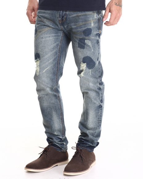 Rocawear Blak - Men Blue Blotted Slim Leg Jeans