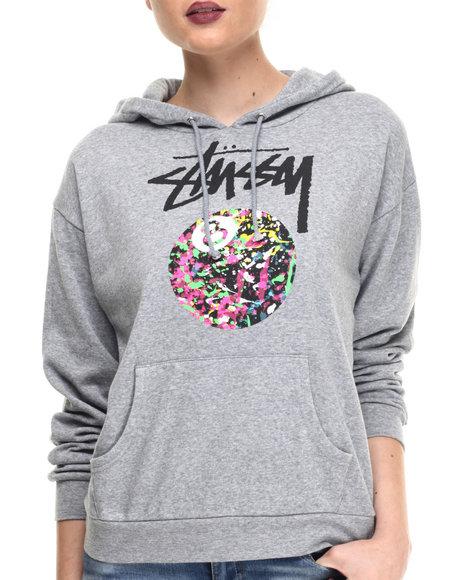 Stussy - Women Grey 8 Ball Paint Hoodie - $52.99