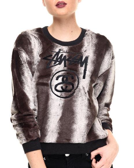 Stussy - Women Grey Furry Sweatshirt
