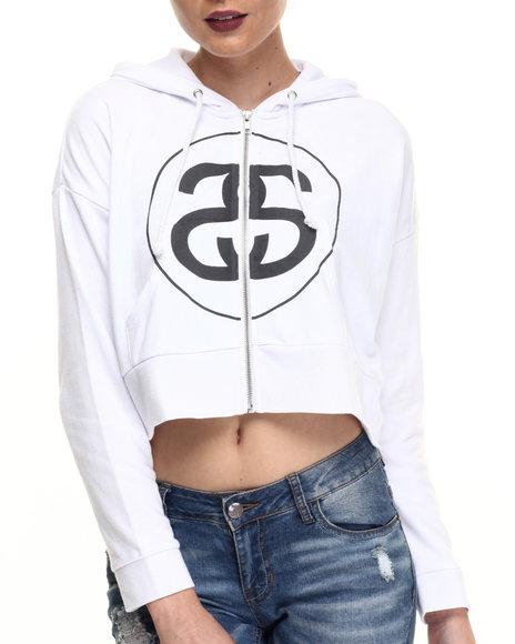 Stussy - Women White Big Link Cropped Full Zip Hoody