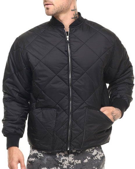 Rothco Men Rothco Diamond Nylon Quilted Flight Jacket (B&T) Black 3XLarge
