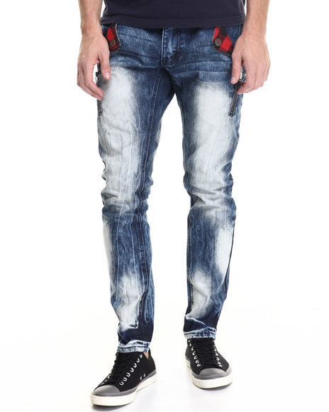 Buyers Picks - Men Medium Wash Smoke Washed Buffalo Check - Pocket Denim Jeans