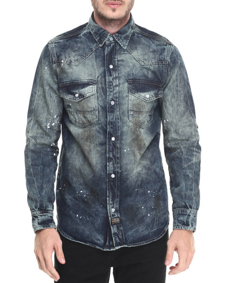 Buyers Picks - Men Dark Wash Dirty Work L/S Button - Down