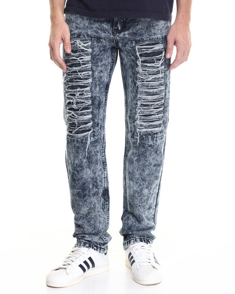 Buyers Picks - Men Dark Wash Dark Indigo Patch & Repair Denim Jeans