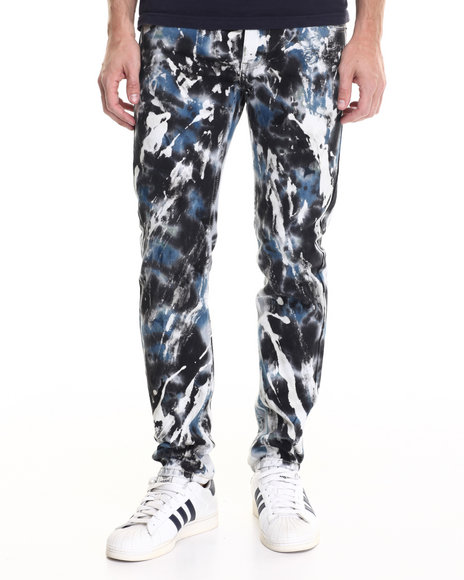 Buyers Picks - Men Blue,Blue Abstract Color - Washed Twill Pants