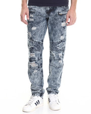 Men - Knee quilted rip & tear Dark Indigo denim jeans