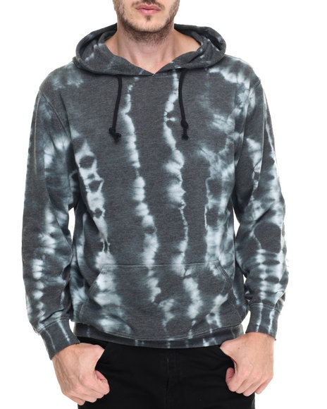 Basic Essentials - Men Charcoal,Light Blue Tie - Dye French Terry Hoodie