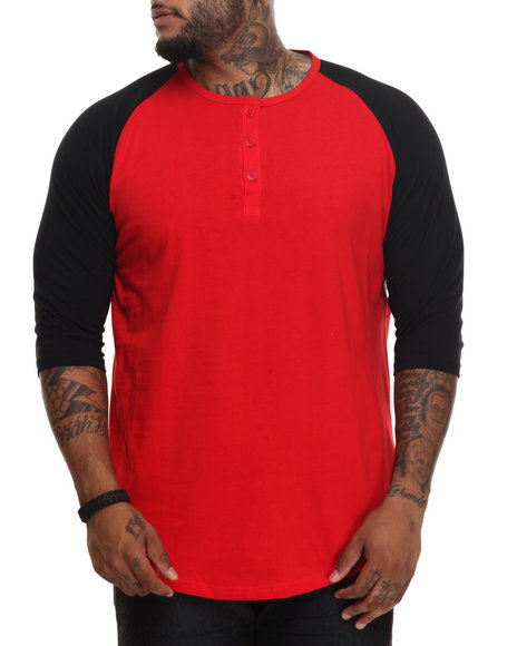 Basic Essentials - Men Red 3/4 Raglan Sleeve Henley Tee