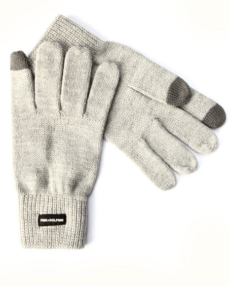 Pink Dolphin Men Knit Gloves Grey