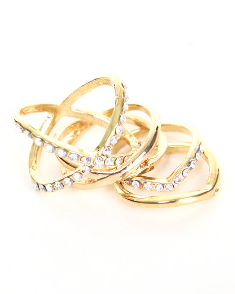 Drj Accessories Shoppe Women Midi Ring Set Gold