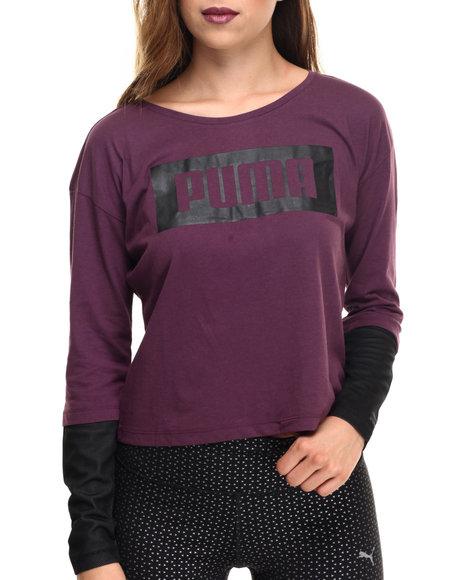 Puma - Women Purple L/S Logo Top
