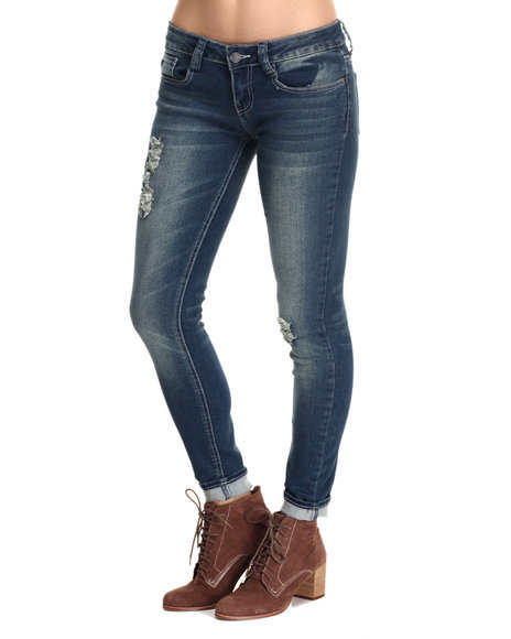 Rampage - Women Blue Lexi Low Rise Dark Wash Bleach Splatter Jean