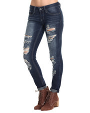 Rampage - Sophie Mid Rise Destructed Jean w/ Rolled Cuff